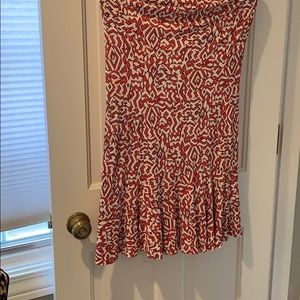 Red and white patterned maxi skirt